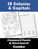 13 Colonies & Capitals Crossword Puzzle and Word Search Combo