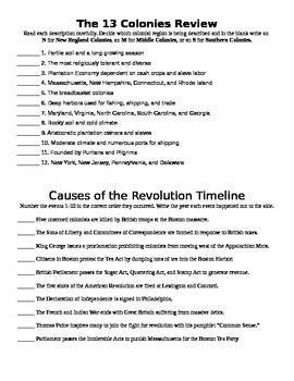 13 Colonies-Causes of the Revolution Review