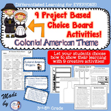 13 Colonies/Colonial America Project Based Choice Board