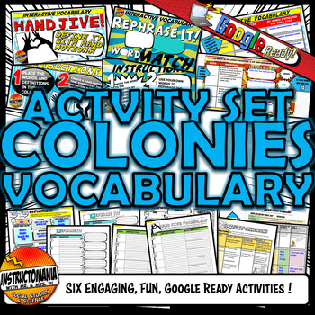 13 Colonies - Colonial America Vocabulary Set Mini Bundle