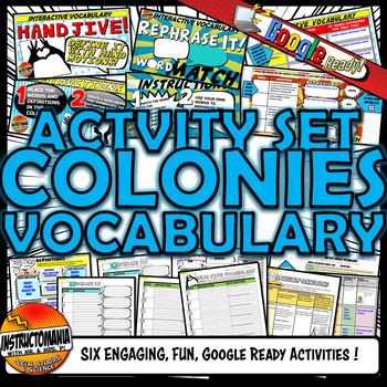 13 Colonies - Colonial America Vocabulary Set Mini Bundle