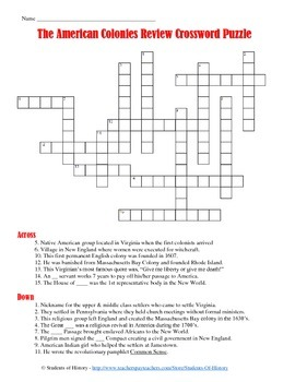 13 colonies crossword puzzle by students of history tpt. Black Bedroom Furniture Sets. Home Design Ideas