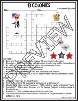 13 Colonies Crossword and Word Search Find Activities