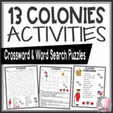 13 Thirteen Colonies Activities Crossword Puzzle and Word Search Find