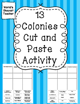13 Colonies Cut and Paste Activity