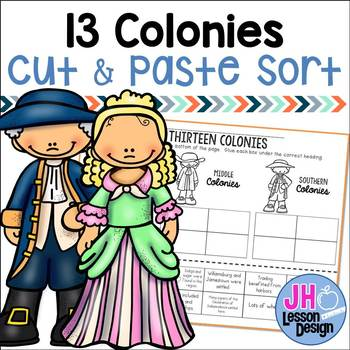 13 Colonies Cut and Paste Sorting Activity