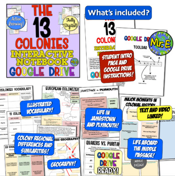13 Colonies DIGITAL Interactive Notebook! Google Drive Ready for 13 Colonies!