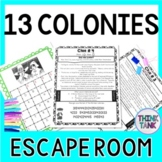 13 Colonies ESCAPE ROOM: New England, Middle and Southern Colonies  Print & Go!