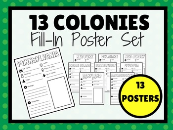 13 Colonies Fill-In Poster Set