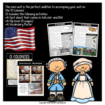 13 Colonies Activities: Mini-Unit with 13 Colonies Flip Book