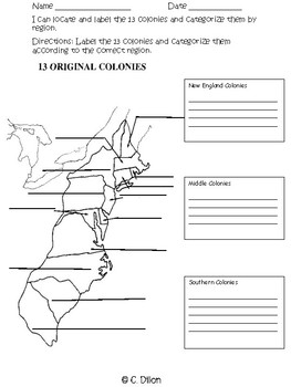 13 Colonies Graphic Organizer
