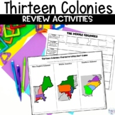 Thirteen Colonies Graphic Organizers and Editable Review Game Sort Activity