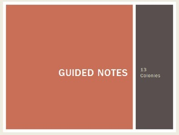 13 Colonies Guided Notes