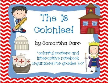 13 Colonies: Interactive Notebook Activities and Colorful Posters!