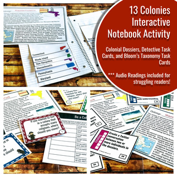 13 Colonies Interactive Notebook Mini - Unit - Differentiated