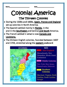 13 Colonies PowerPoint with Interactive notes -4th Social Studies