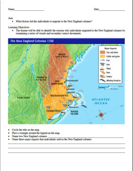 Exciting New England Colony Worksheet: Great Visuals CCLS Aligned