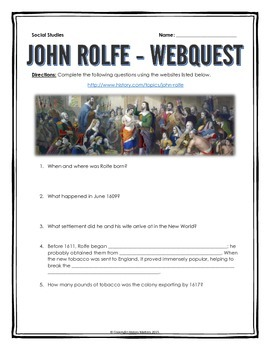 13 Colonies - John Rolfe - Webquest with Key