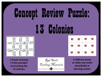 13 Colonies Key Concepts Puzzle