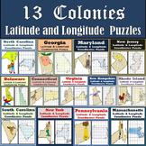 13 Colonies Latitude & Longitude Coordinates Puzzles - 13 Puzzles - 50% Off!