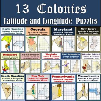13 Colonies Latitude & Longitude Coordinates Puzzles - 13