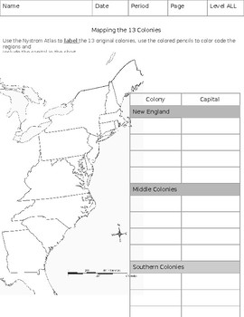 13 Colony Map Color And Label Worksheets Teaching Resources Tpt