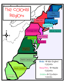 13 Colonies Regions Map - Software Help