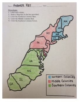 13 Colonies Map Project 85x11 by Alexis Forgit  TpT