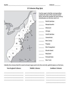 photo relating to 13 Colonies Quiz Printable called 13 Colonies Map Quiz/Worksheet