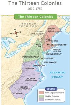 13 Colonies Map Text Reading by Jennifer Gates | TpT