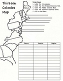 13 Colonies Map Worksheet