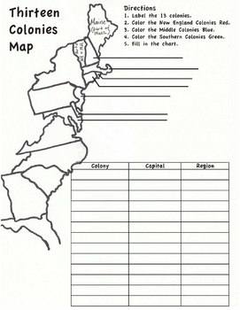 13 Colonies Map Worksheet by Hester History | Teachers Pay Teachers