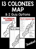 13 Colonies Map and Map Quiz (2 versions)