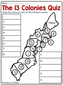 13 Colonies Map and Map Quiz (2 versions) by Teaching to the Middle