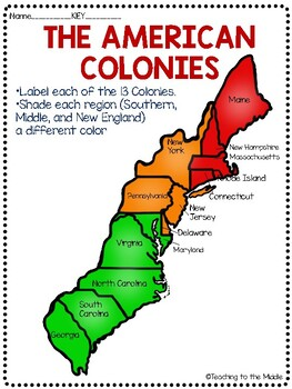 13 Colonies Map and Map Quiz Two Versions FREE