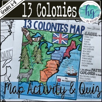 13 Colonies Map and Quiz