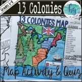 13 Colonies Map and Quiz (Print and Digital)
