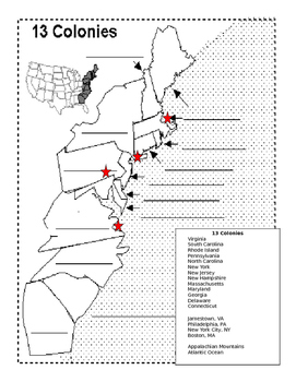 13 Colonies Map and Regional Quiz