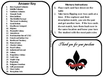 13 Colonies Memory/ Matching Game