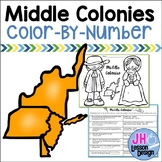 13 Colonies - Middle Colonies - Color-By-Number