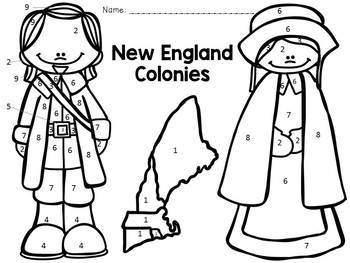 13 Colonies - New England Colonies - Color-By-Number