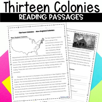 13 Colonies New England, Middle and Southern Nonfiction Reading Packet