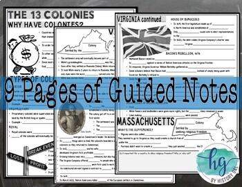 13 Colonies PowerPoint & Guided Notes