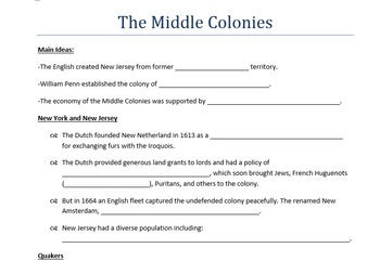13 Colonies PowerPoints and Guided Notes