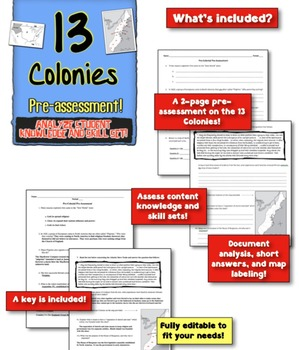 13 Colonies Pre-Assesssment! Measure content knowledge and skills! Editable!