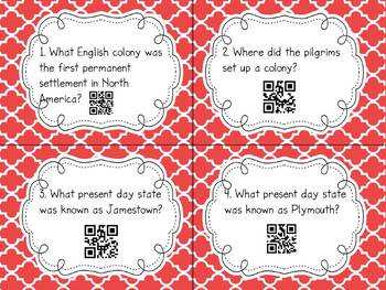 13 Original Colonies QR Code Task Cards