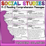 13 Colonies Reading Comprehension Passages (K-2) Distance