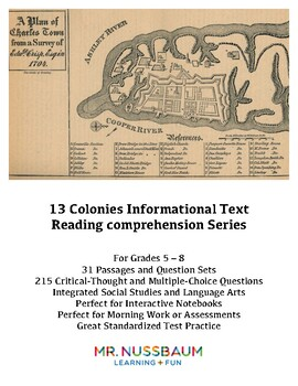 13 Colonies Reading Comprehension Series