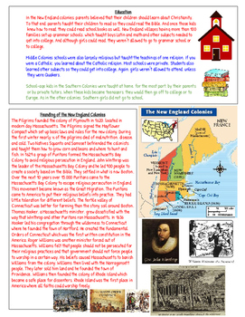 13 Colonies Reading and Information Chart