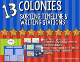 13 Colonies Sorting, Timeline & Writing Activity